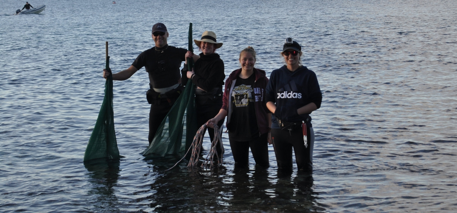 Some of the stingray tagging A-team, featuring (left to right) Dr. Will Robbins of  WIldlife Marine , Siân Kearney, Alyssa Luongo and myself.