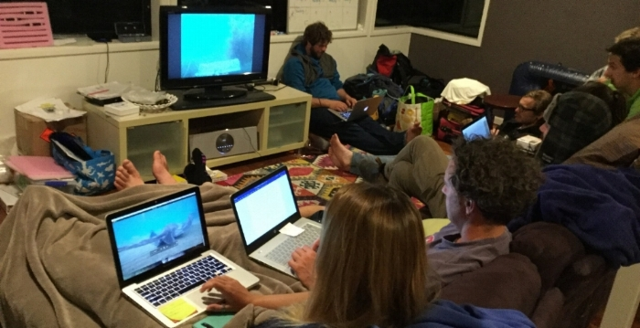 No rest for the wicked. After early starts, snorkeling and stingray and shark wrangling all day, we settle in for a night of data entry, analysis and writing. Photo credit: Rob Perryman.