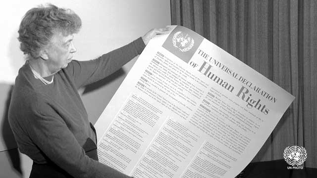 Eleanor Roosevelt, aged 64, reviews the Universal Declaration of Human Rights in 1948. Source:    un.org