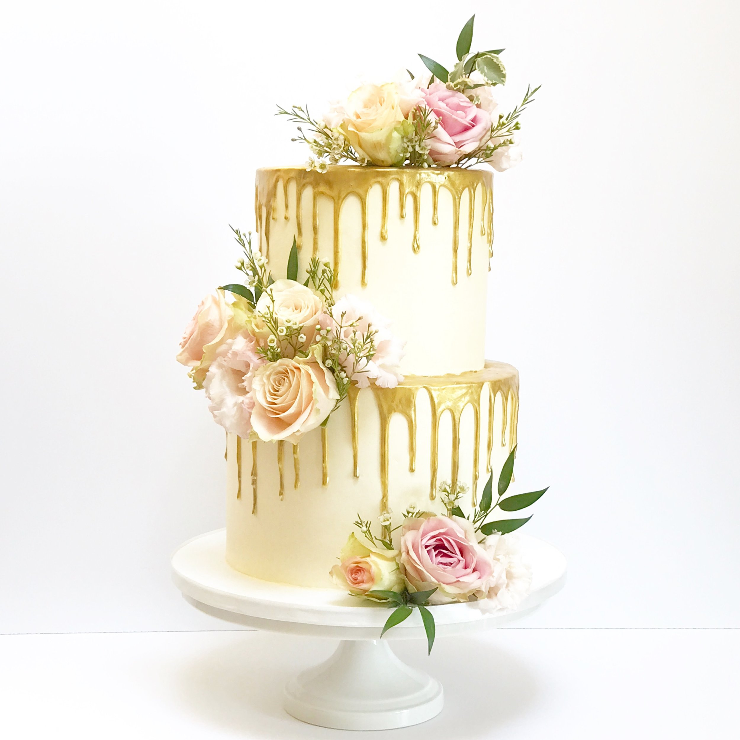 Gold Drip & Floral Wedding Cake.JPG