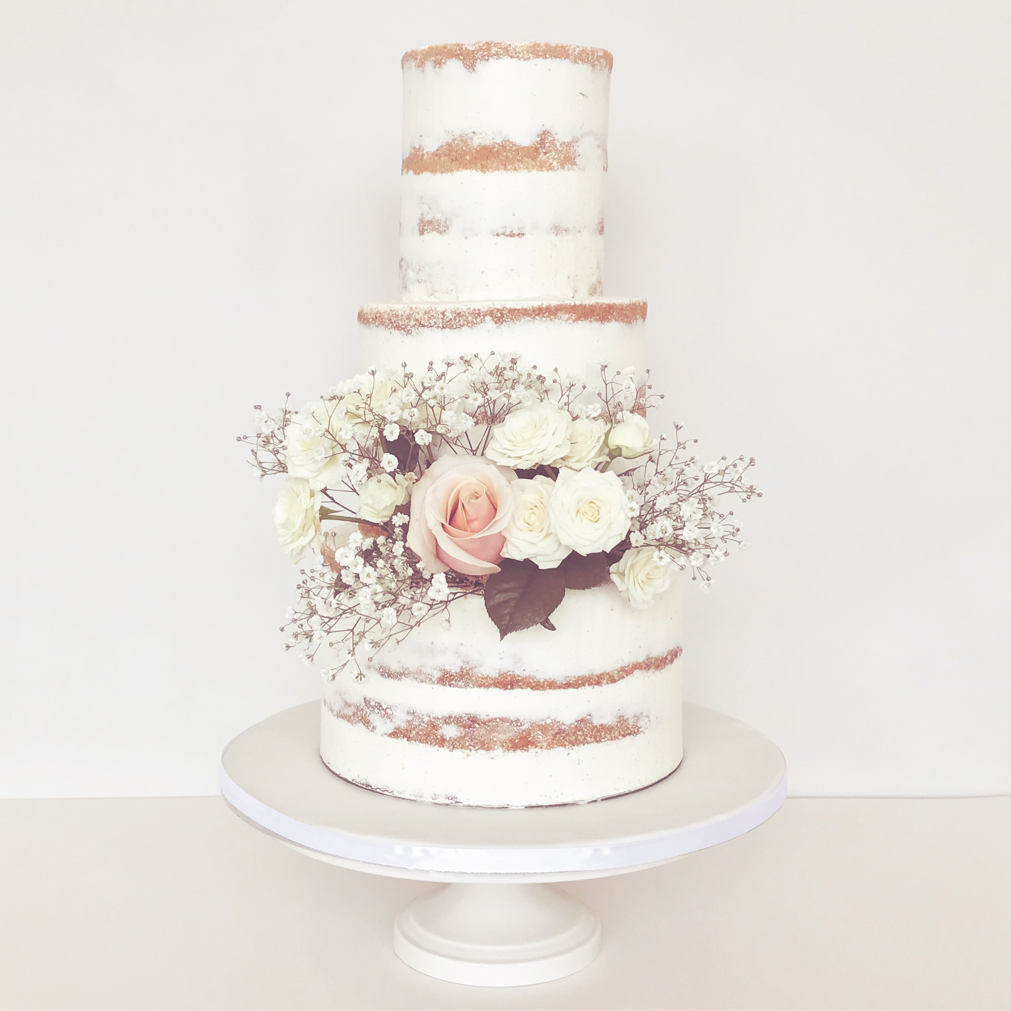 Semi-Naked Wedding Cake with Fresh Flowers