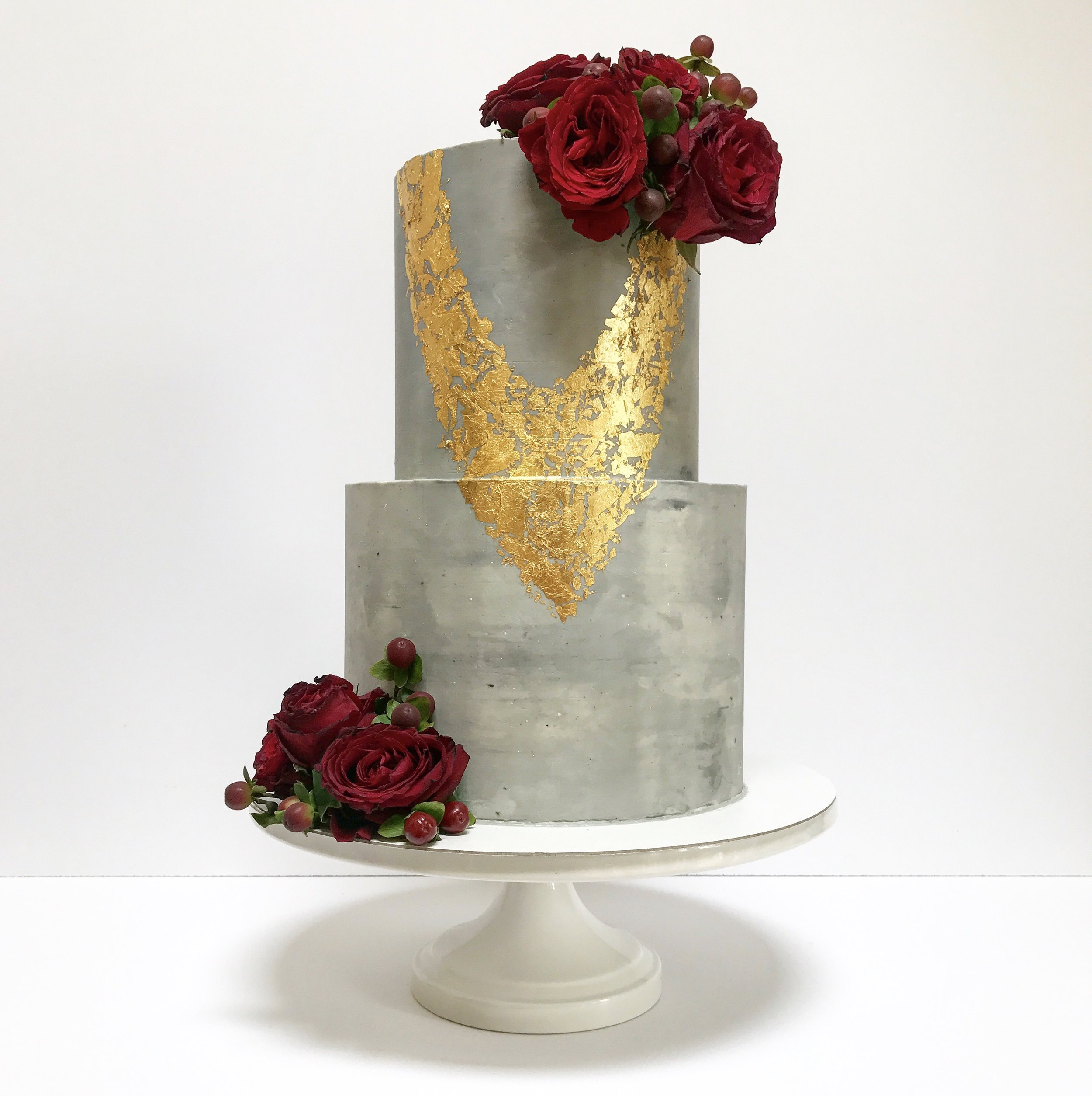 Concrete Cake with Deep Red Roses and Gold Foil.jpg