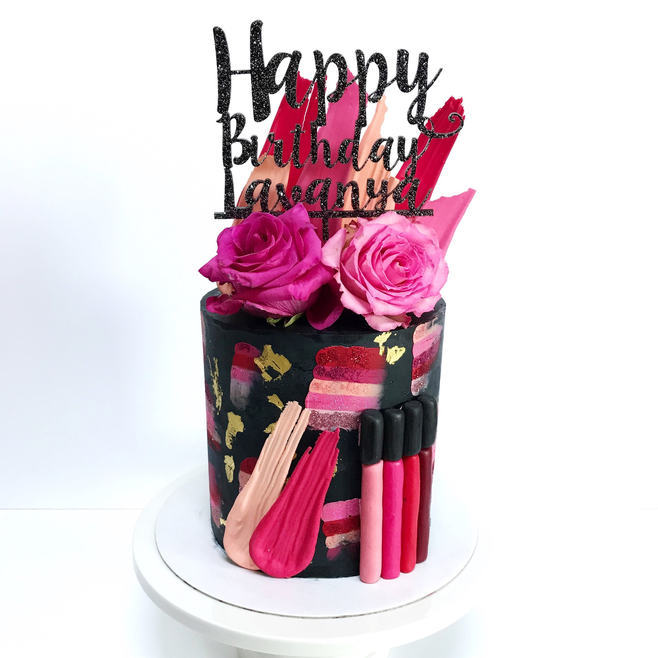Make-up buttercream cake with chocolate brushstrokes.JPG