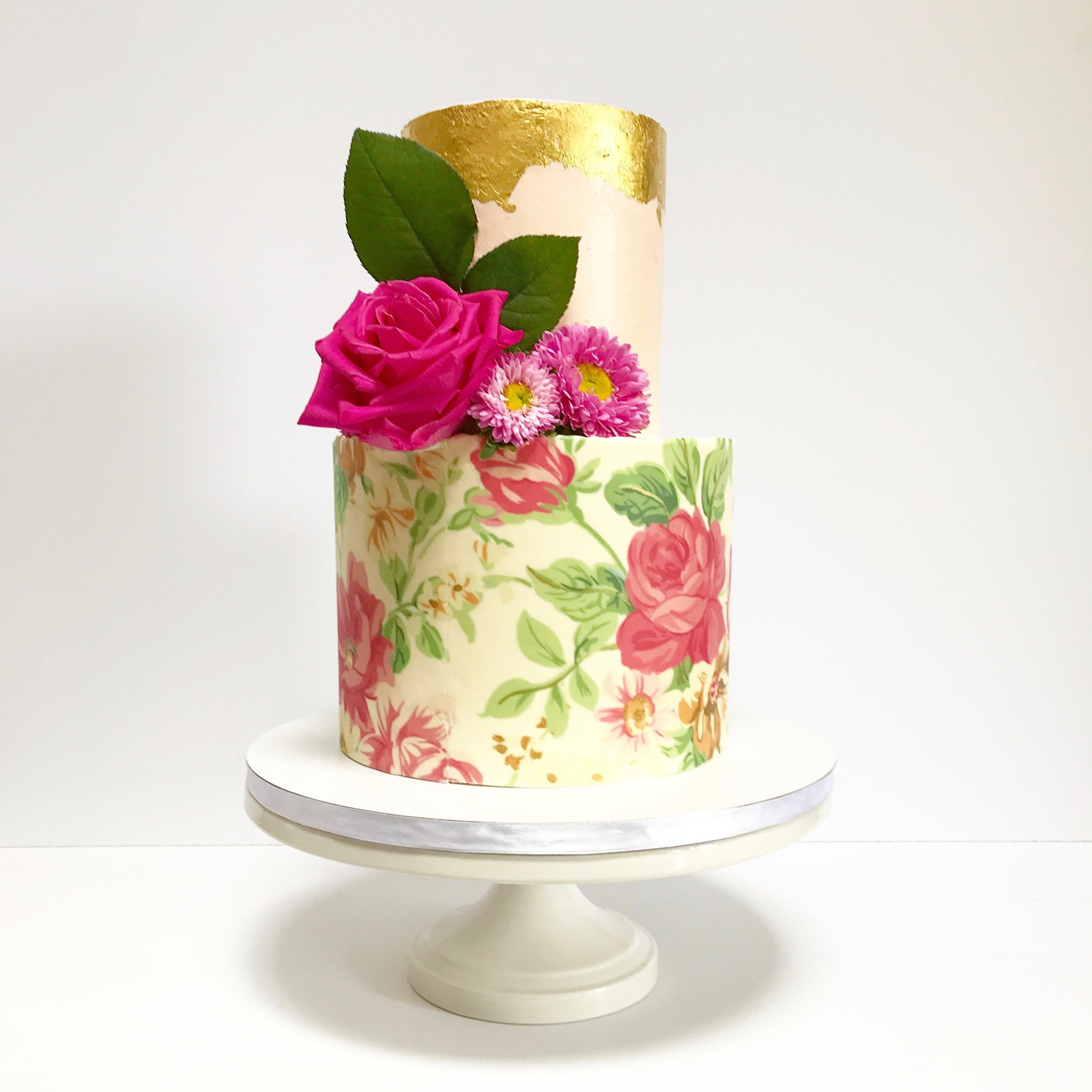 English Garden, Pretty in Pink Wedding Cake.JPG