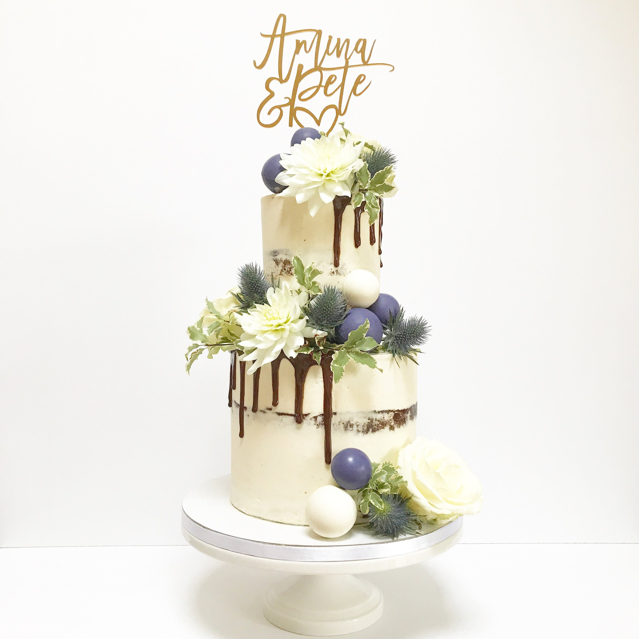 Semi naked Chocolate Drip Cake with Chocolate spheres.JPG