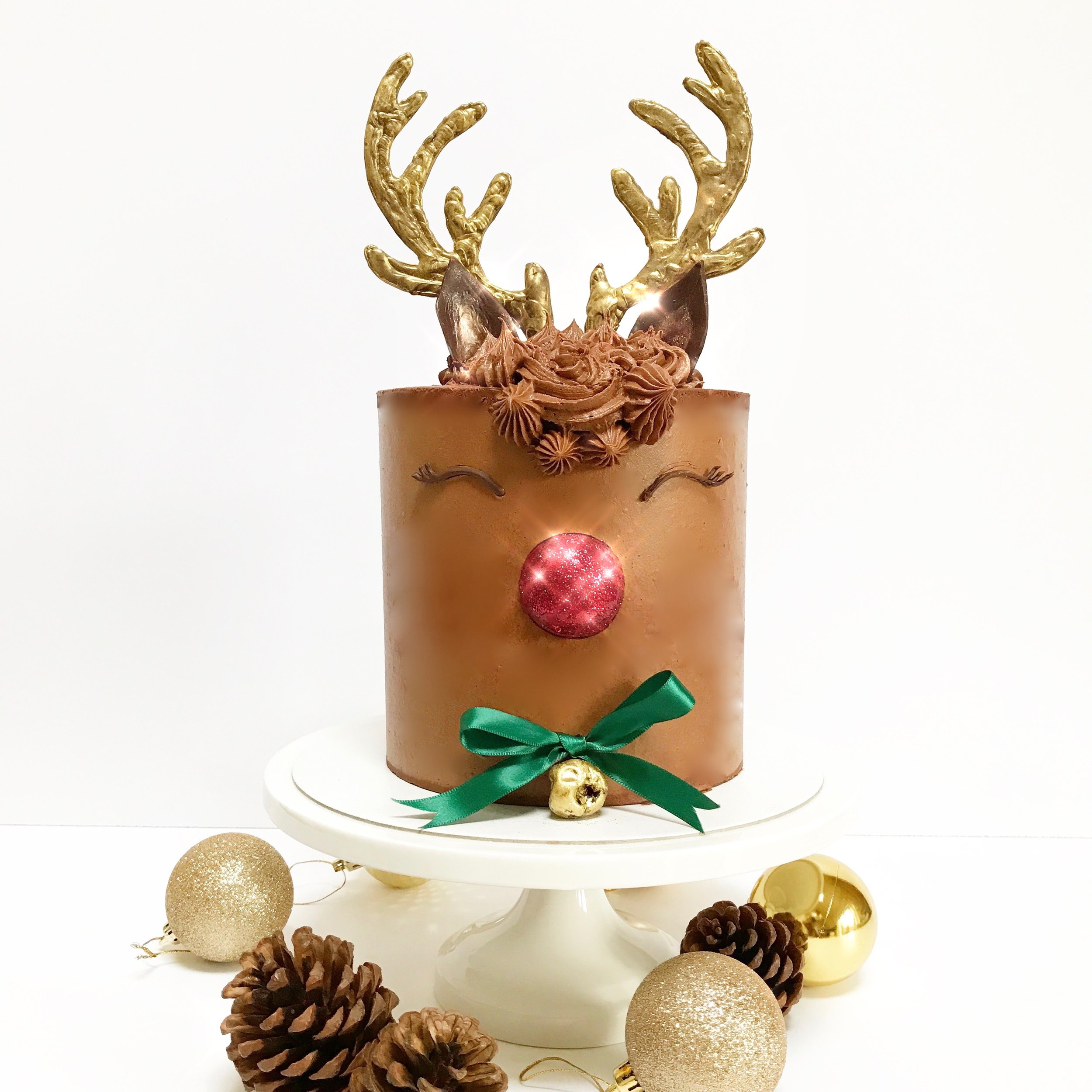 Sparkly Nosed Rudolph Cake  -