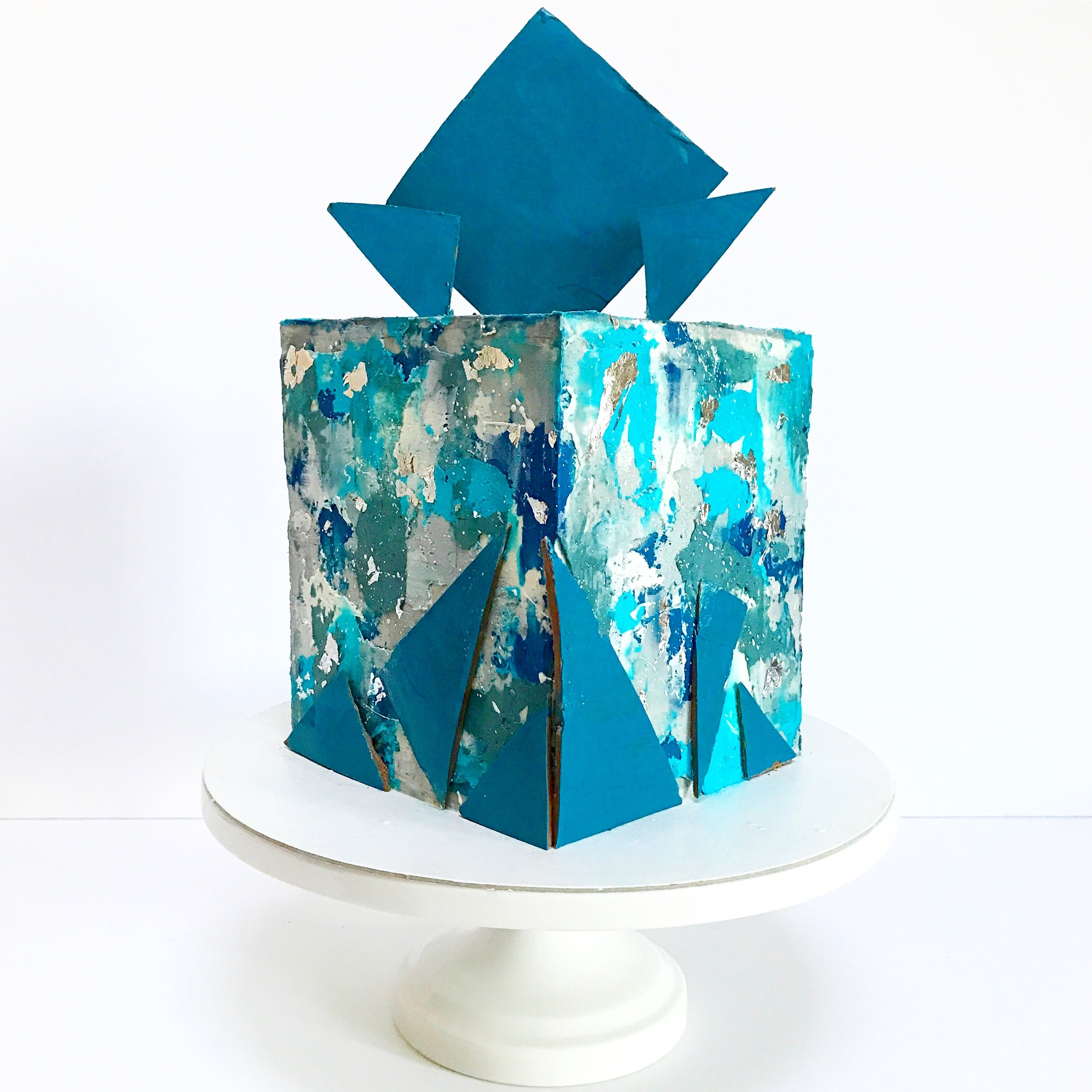 Blue and Grey Textured Buttercream Square Cake