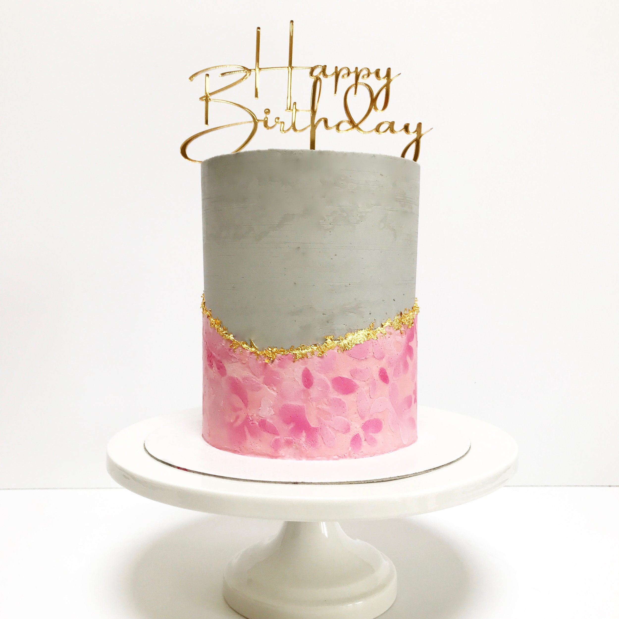 Grey, pink and gold buttercream birthday cake.jpg