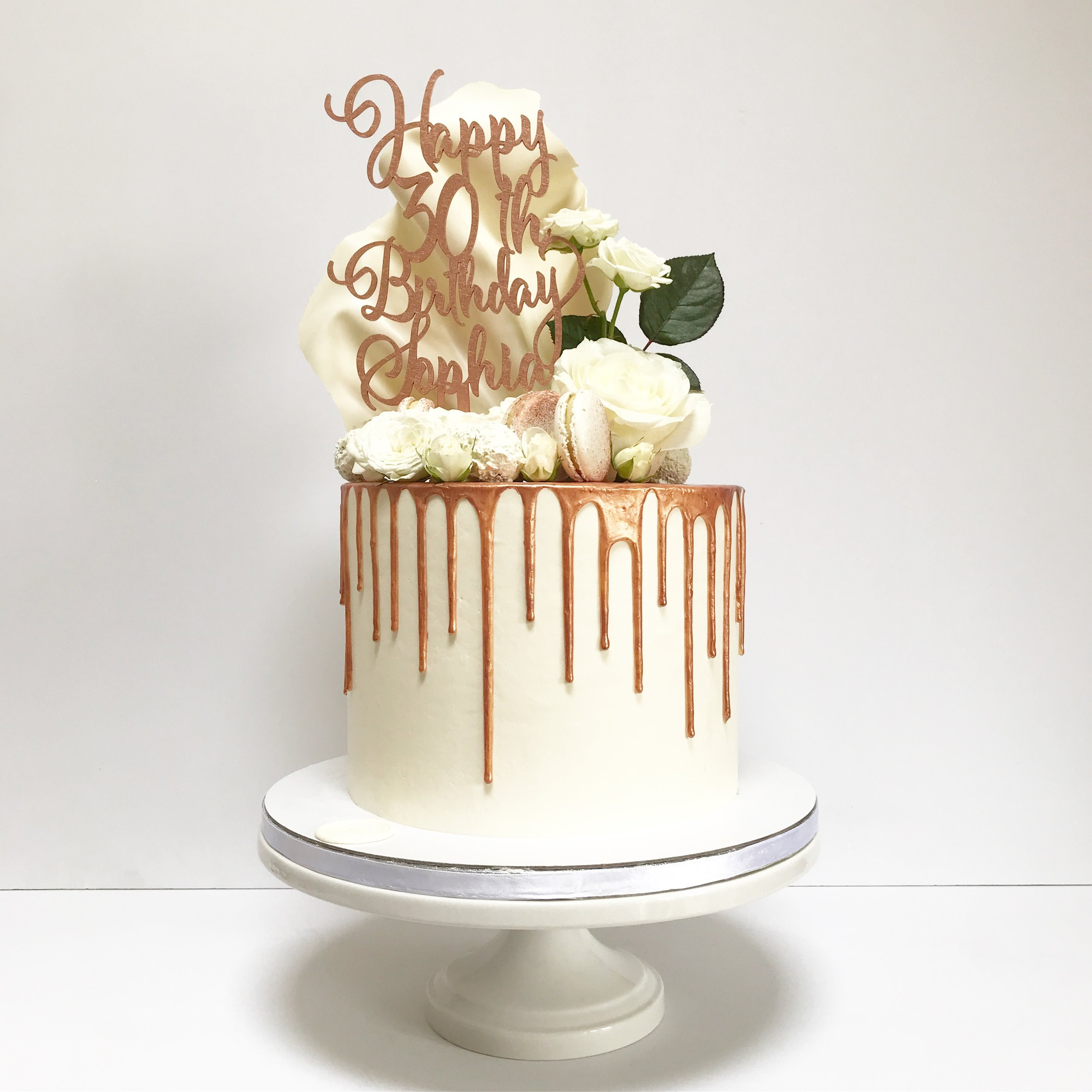 White and rose gold 30th birthday drip cake.JPG