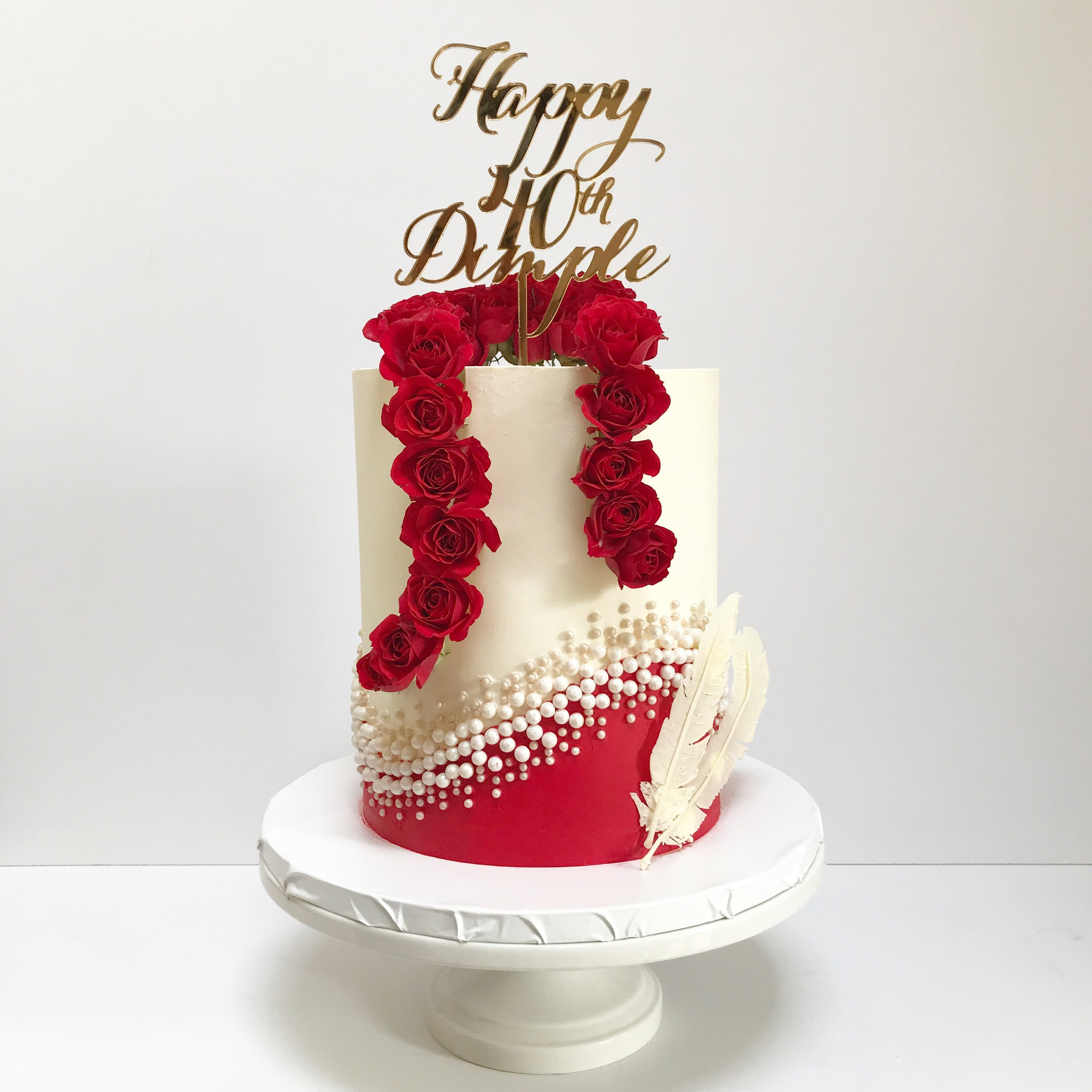 Vintage hollywood themed 40th buttercream birthday cake.JPG