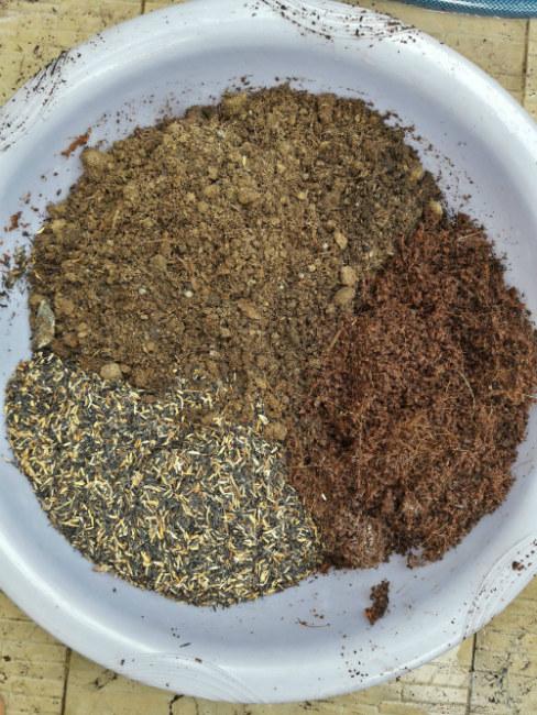 Giá thể trồng rau bao gồm các thành phần chính là phân bò, trấu hun, sơ dừa, bánh dầu...