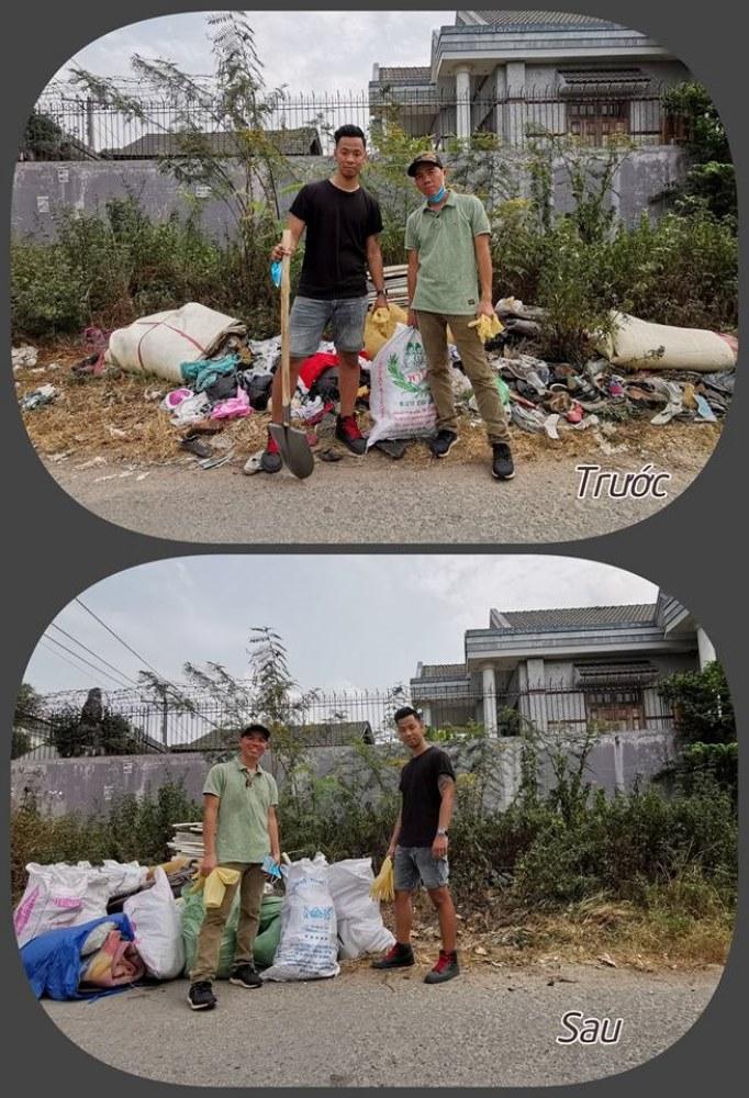 Anh Trần Mạnh Hiệp (đeo khẩu trang) và một người bạn cùng khởi động thử thách dọn rác - Ảnh: cuhiep