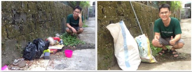 Một thành viên Tinh Tế khoe ảnh dọn rác ở con đường trước nhà thành viên này - Ảnh: Tinhte
