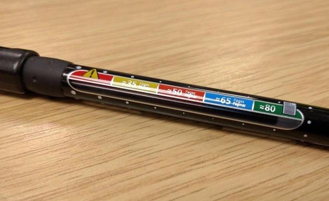 Bút bi có sẵn vạch chỉ báo viết được bao nhiêu trang nữa thì hết mực