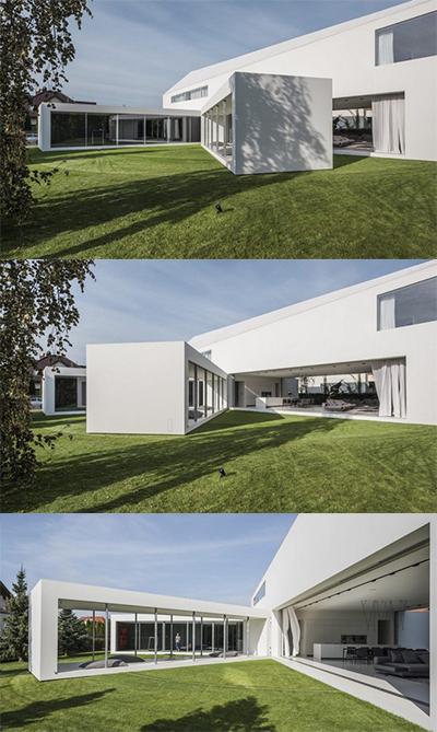 Quadrant Home có kiến trúc nhà hình chữ L. Phần thân nhà nằm giữa có thể di chuyển tự động từ phòng spa sang phòng khách.