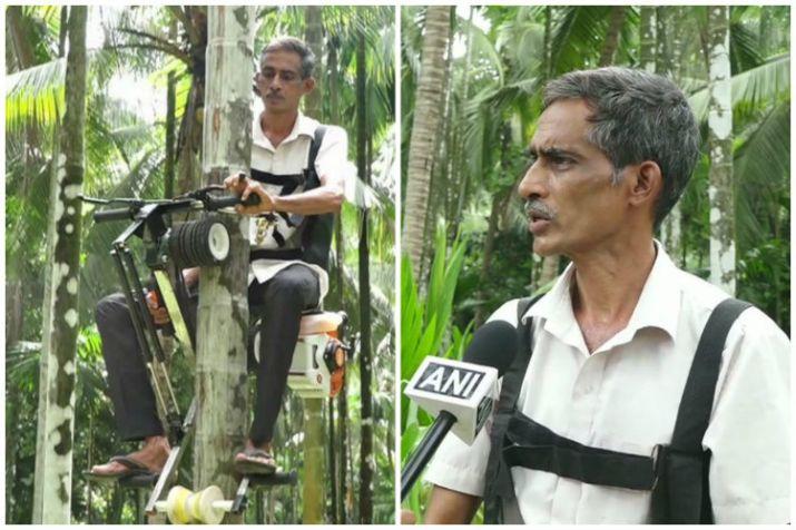 Chiếc máy này do anh nông dân Ganapati Bhat, ở bang Karnataka, Tây Nam Ấn Độ, sáng chế từ một chiếc xe máy cũ.