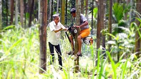 Chiếc máy leo cây của anh Bhat nặng 28kg, sử dụng động cơ 2 kỳ.