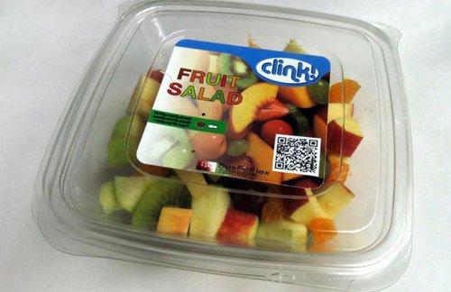 Cảm biến (vòng tròn nhỏ theo hướng mũi tên trắng), được lắp trên hộp đựng để phát hiện thực phẩm hỏng.