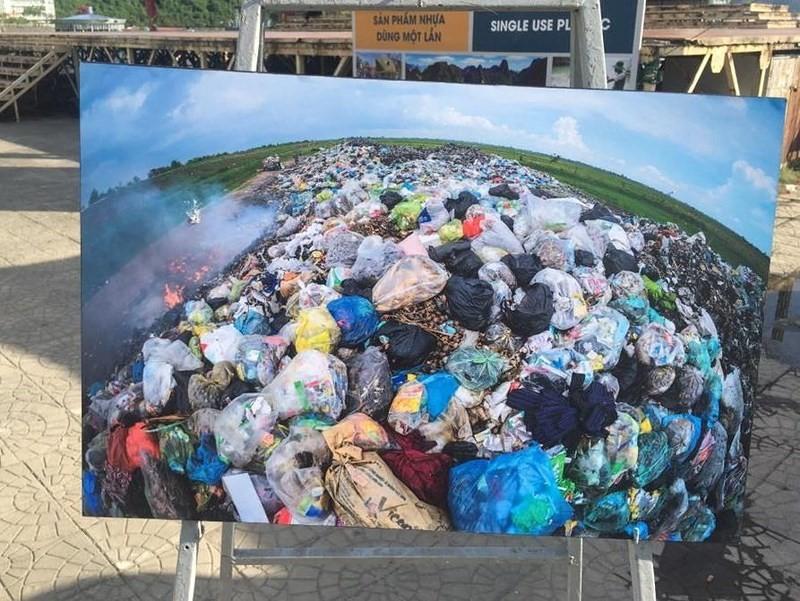 Bức ảnh chụp một bãi rác, trong đó phần lớn là rác thải vô cơ.