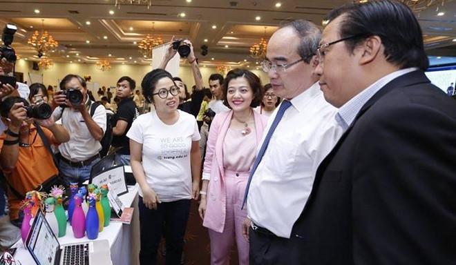 Chị Vân khi tham gia cuộc thi Startup Wheel 2018.