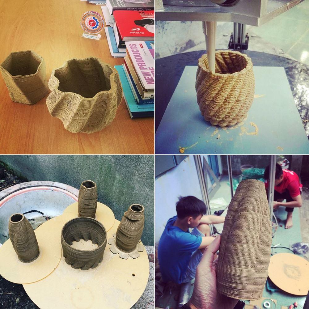 Các sản phẩm gốm được in từ máy 3D. Ảnh: NVCC.