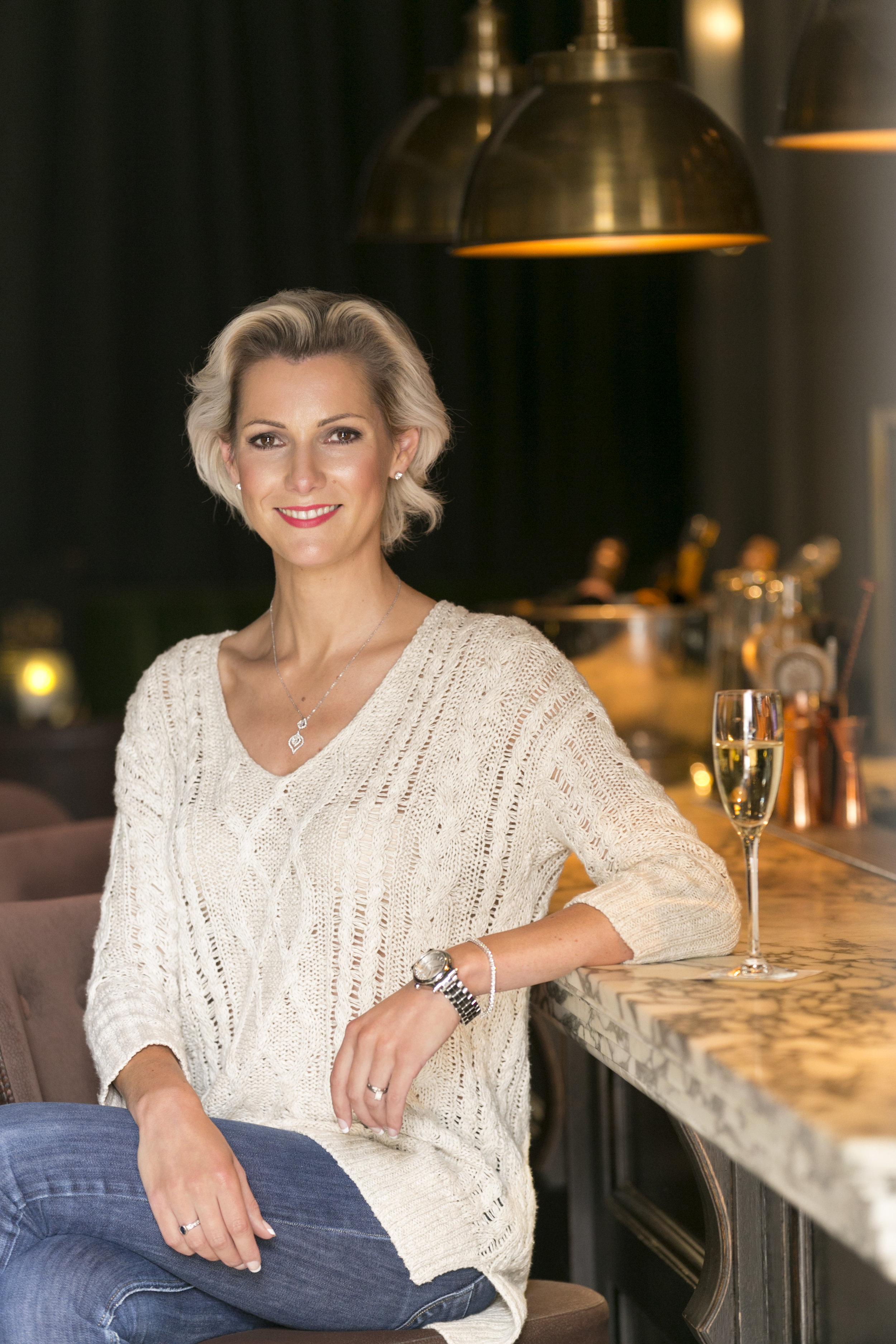 Louise wears ROX Diamond pendant & earrings with Chopard 'Happy Diamonds' Sports Watch