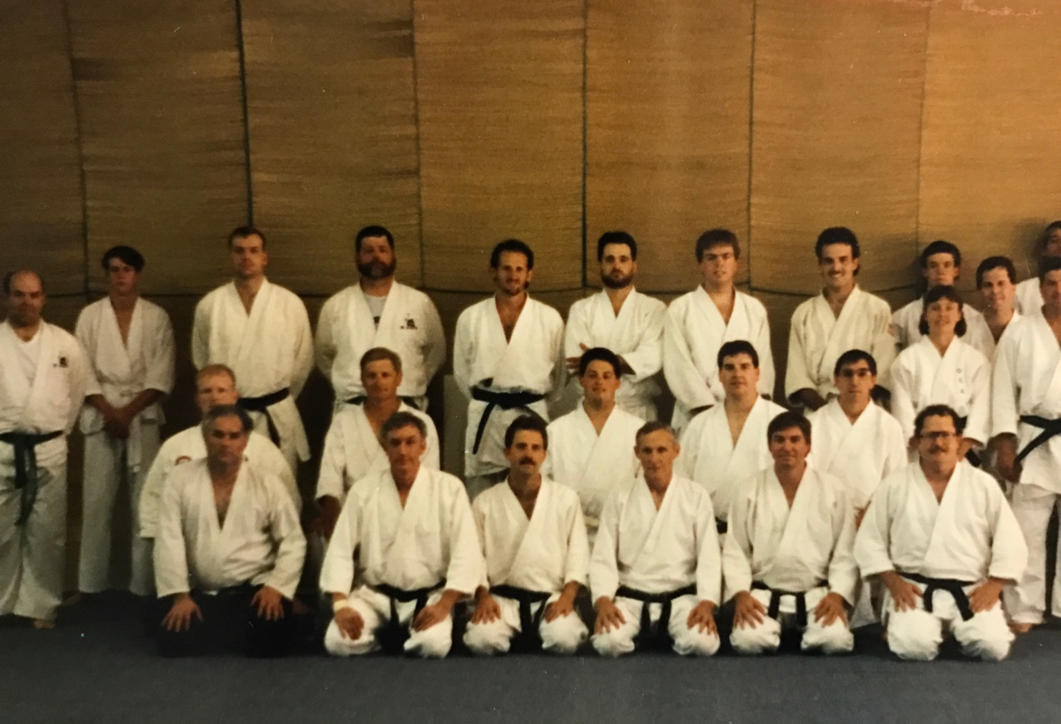 Mr. Mumpower conducts a seminar for Aikido Black Belts in Charlotte in the 1990's. Sensei Larry Beal is in the second row and second to Mr. Mumpower's right.