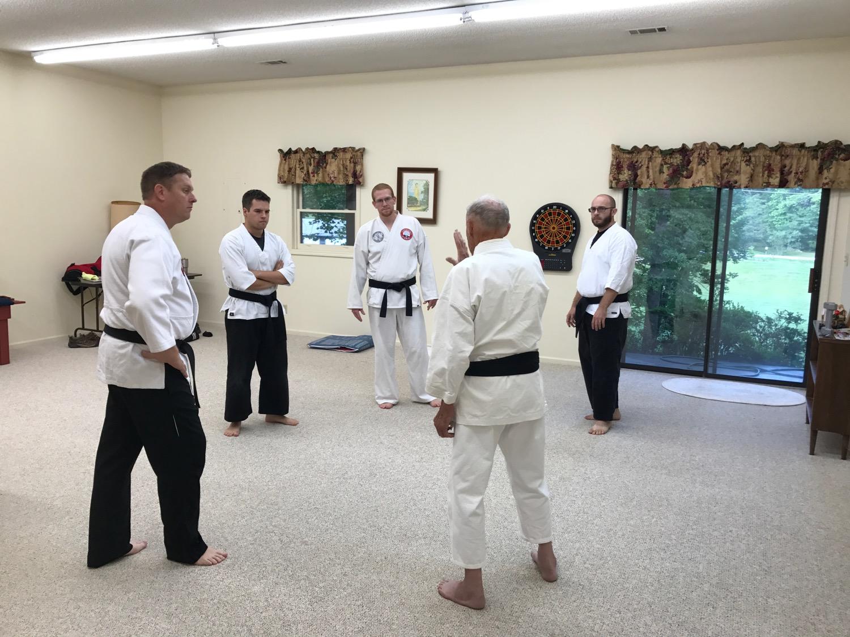 Mr. Mumpower teaches CVMA black belts in his home (2017).