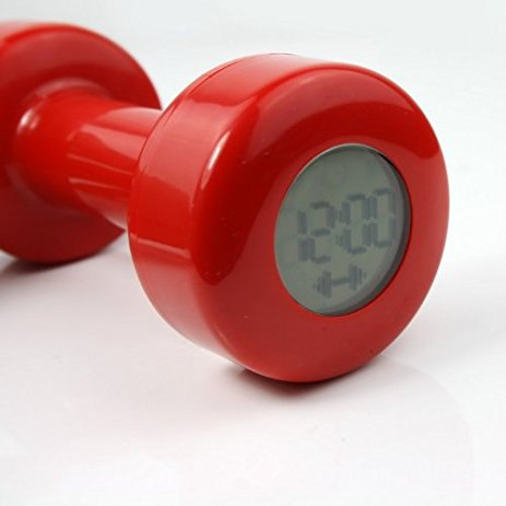 - - Unique dumbbell and alarm clock design prevents you being late and keeping healthy- Digital alarm clock with LCD display- Normal and exercise alarm mode