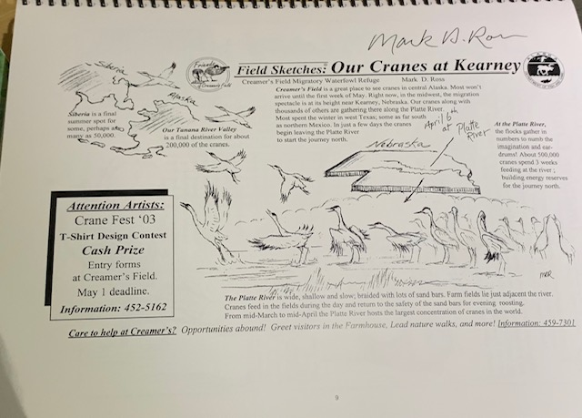 He signed every page with Sandhill Cranes