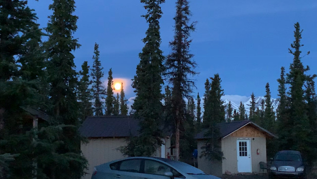 Full moon during civil twilight