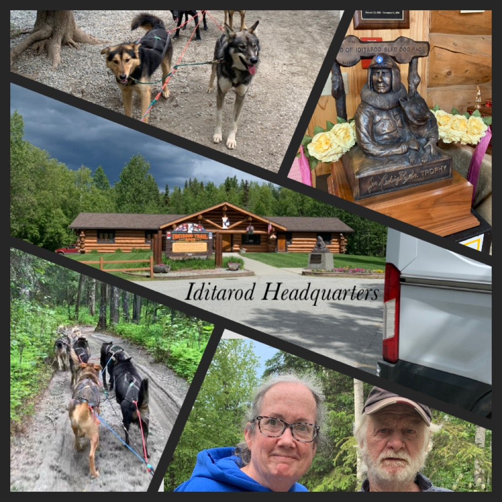 Iditarod Headquarters 2100 S Knik-Goose Bay Rd, Wasilla, AK  This is a beautiful spot. Watched a film that had a lot of Jeff King in it. :) Browsed through all the memorabilia, snuggled some puppies, and took a cart ride with some very happy, friendly huskies. Best of all, I met musher Raymie Redington.   Of dogs and brothers: Another generation of Redingtons inducted into Musher's Hall of Fame