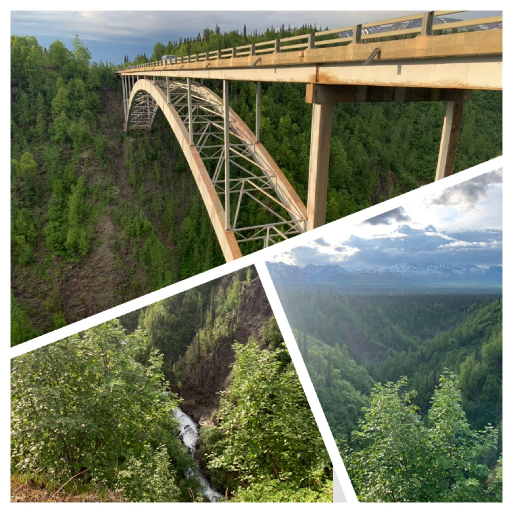 Hurricane Gultch: There are over 40 bridges to cross while driving the Parks highway. Hurricane Gulch Bridge, at mile 174.3 is a breathtaking 254 feet above the white water of Hurricane Creek. Pedestrians aren't allowed to walk on the bridge. It's spectacular from any vantage point.