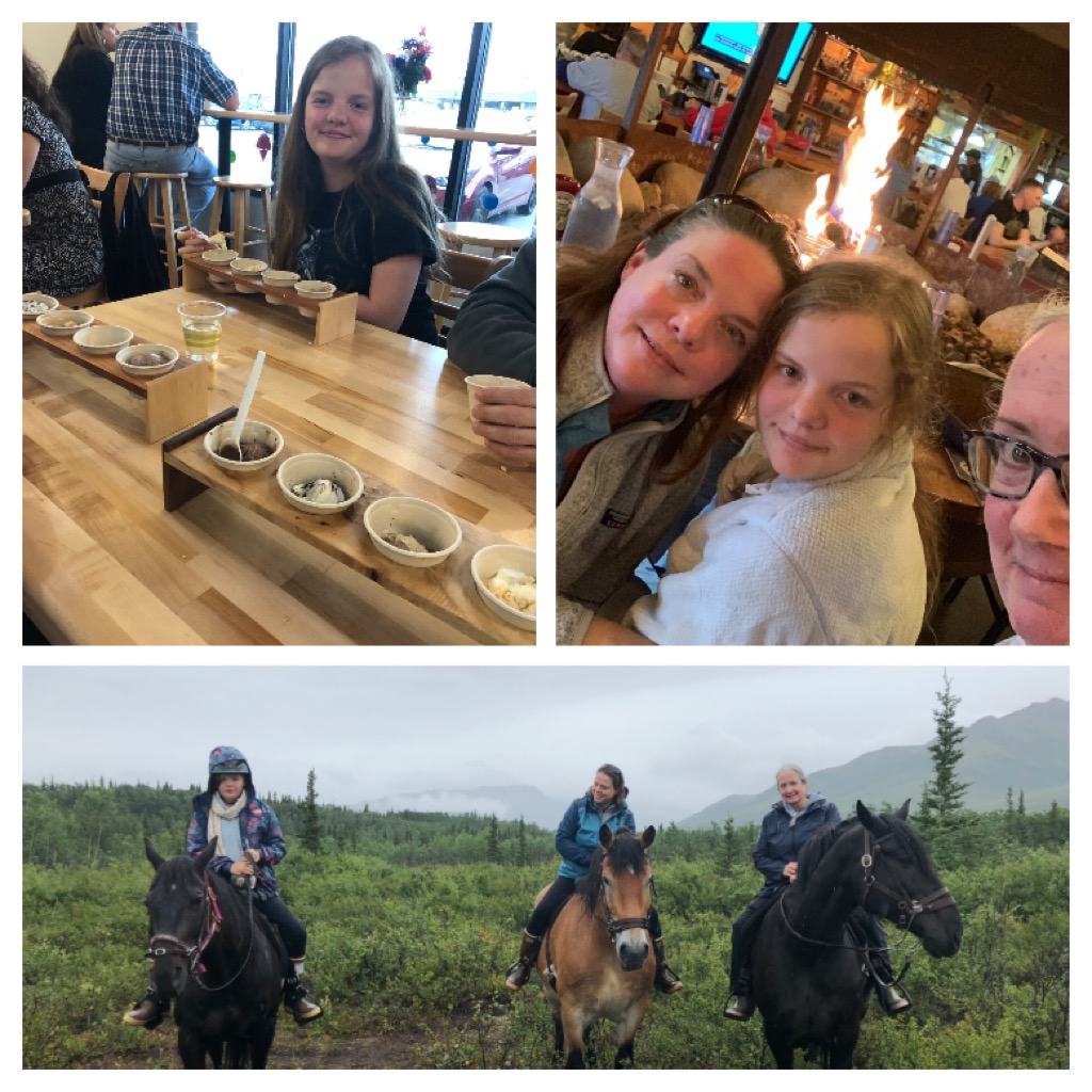 I took a trip to Anchorage to visit former BT Raiders swimmer, Emma Borys, and her family. We went to Wild Scoops for a treat - still my favorite Alaska ice cream. This week, they visited me in Denali. We had ice cream twice in two days, but it didn't measure up to Wild Scoops. The three of us took a trail ride on a rainy day, and then warmed up at a fire table at 49th State.