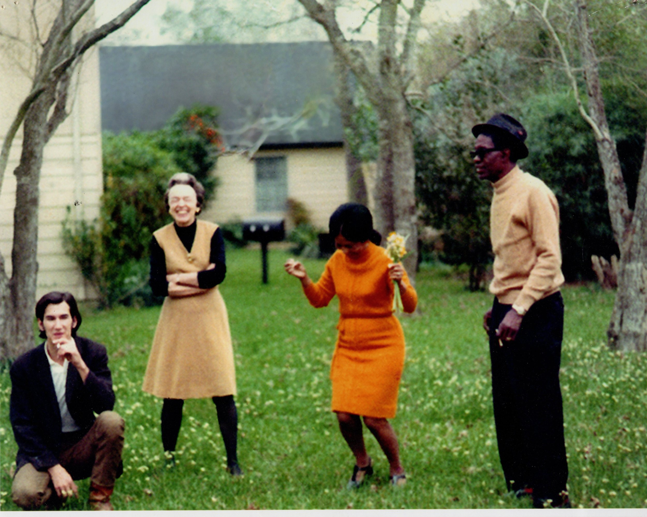 "Townes Van Zandt, Margaret (""Mimi"") Lomax with Lightning Hopkins and his wife.  Antoinette. John's father managed Lightning, John III managed Townes who was heavily influenced by Hopkins."