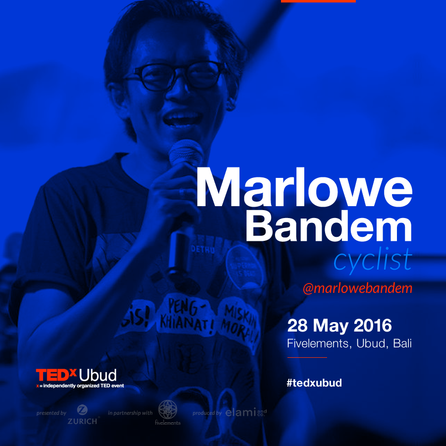 Don't try to pin a label on Marlowe Bandem. He's a DJ, fixed-gear cyclist, creator of multi- media events, manager of two micro-financing banks, and vice chairman of the Widya Dharma Shanti Foundation that oversees STIKOM Bali, the largest ICT (information and communication technology) college in Bali.  Latest collaborative initiatives include The Bali 1928 Project, a repatriation project of where Balinese recordings and films of the 1920s were repatriated from several countries; and Bali Record Store Day (April 2016) and SPRITES ART LAB: AGNI in Desa Lawak Badung (June 2016).  Marlowe has contributed to many arts events in Bali, including Jean-Michel Basquiat Exhibition at Darga Gallery (2005), Bali Biennale: Space & Scape (2005), reclaiming public spaces via Ebullience Art Event (2009), and SPRITES Art and Creative Biennale (2013, 2015).