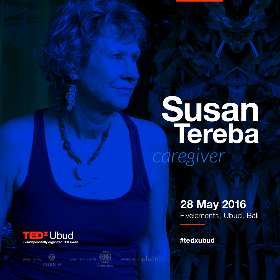 "Susan is an American artist, jewelry designer, and writer, has lived in Bali for 26 years. She has 14 years experience as the primary caregiver for her husband, Bob. She also writes a recipe column for the Bali Advertiser.   Susan and her husband Bob had a dream to live in another country and learn another language. Together they forged a life in Bali. Ten years later Bob showed signs of Alzheimer's disease.  Susan vowed to keep Bob with her in Bali and give him the best life possible. From that experience she created a blog called ""Alz World,"" writing about being a caregiver and hoping to inspire other caregivers. ""Tell your loved one you love him, over and over, each time you visit,"" Susan writes in one of her blogs. ""Don't expect anything in return. But know that your love seeps in and caresses his or her spirits."""