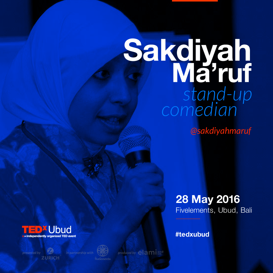 """Sakdiyah Ma'ruf will be on the 2016 TEDxUbud stage.      Sakdiyah Ma'ruf is one of the first Indonesian Muslim female stand-up comics. Passionate advocate for freedom and equality, she juggles life behind the mic as a comedian and interpreter.   Producers have asked Sakdiyah to censor her own jokes, telling her that she is """"too conceptual, theoretical, laden with message,"""" but the stakes are too high for Sakdiyah to stop. Having grown up watching U.S.-based comedians drive their points home, she decided to use the same medium to get people talking about issues plaguing her own country.  Sakdiyah received the Václav Havel International Prize for Creative Dissent at Oslo Freedom Forum 2015. She currently works with the Indonesian Consortium for Religious Studies (ICRS): and the Moral Courage Project, New York University. She received her BA in English from UGM, Yogyakarta, and is working on her M.A."""