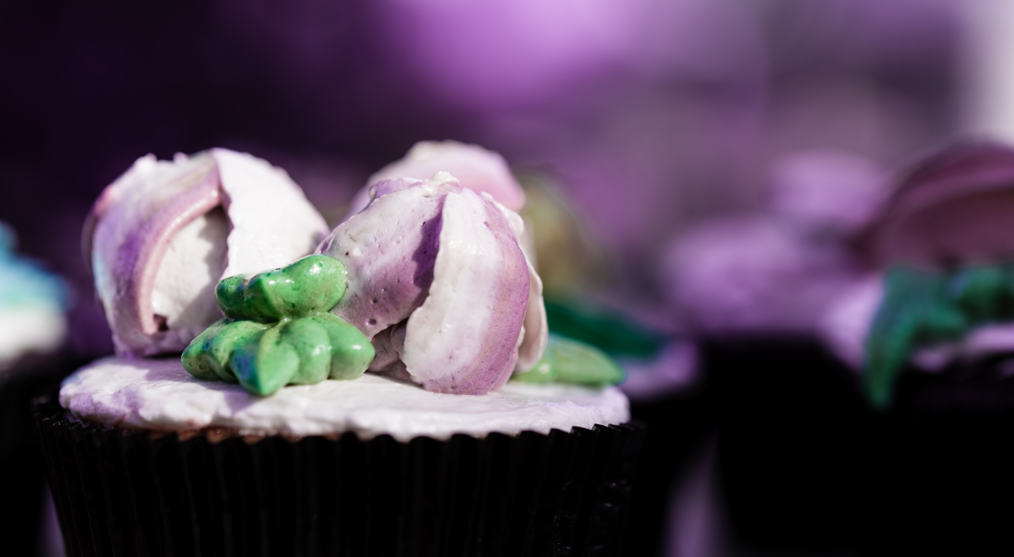A detail of a cupcake
