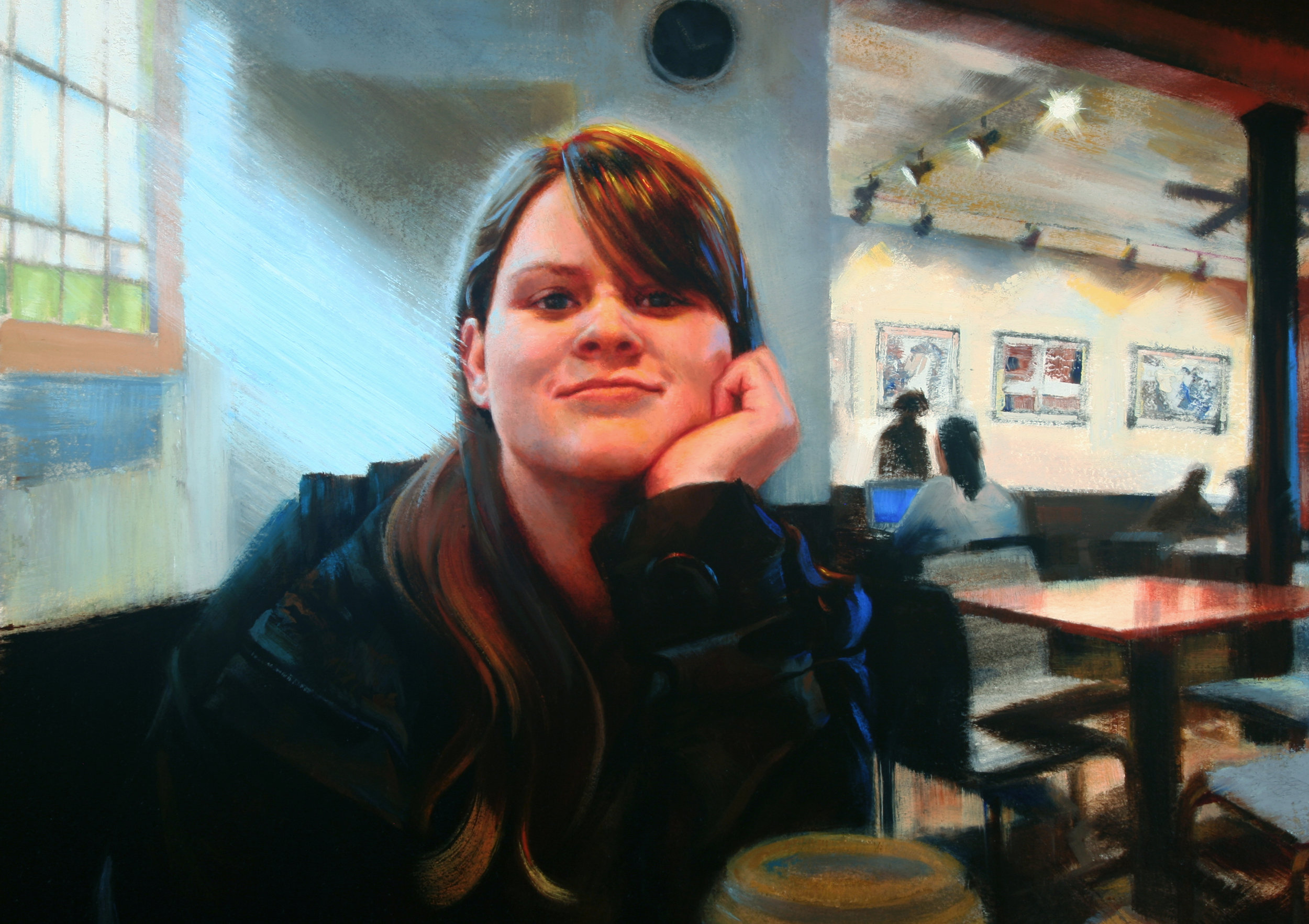 (detail) Falling in love at The Cup - OilThis is a portrait of the artist's daughter, Alyssa, at her favorite coffee shop in her college town. The Cup was a treasured oasis for her. She came here several times to