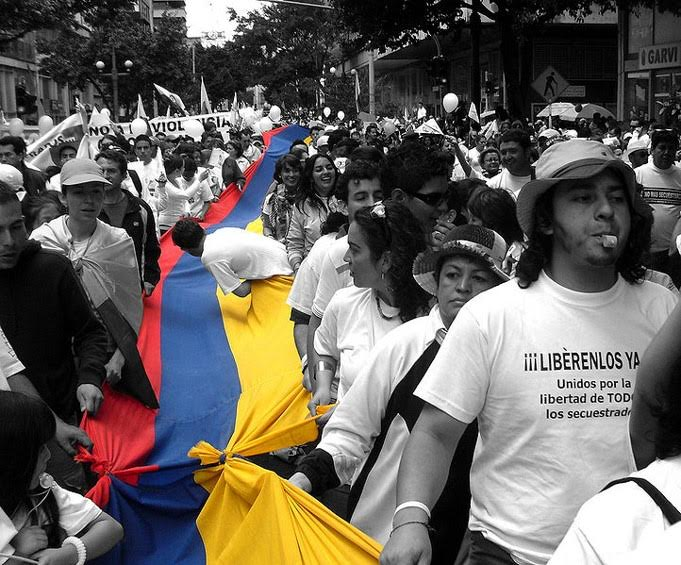 Colombians marching for the freedom of the people kidnapped by the FARC and the ELN