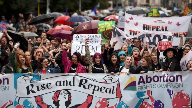 Protest for the repeal of the 8th Amendment, Ireland.