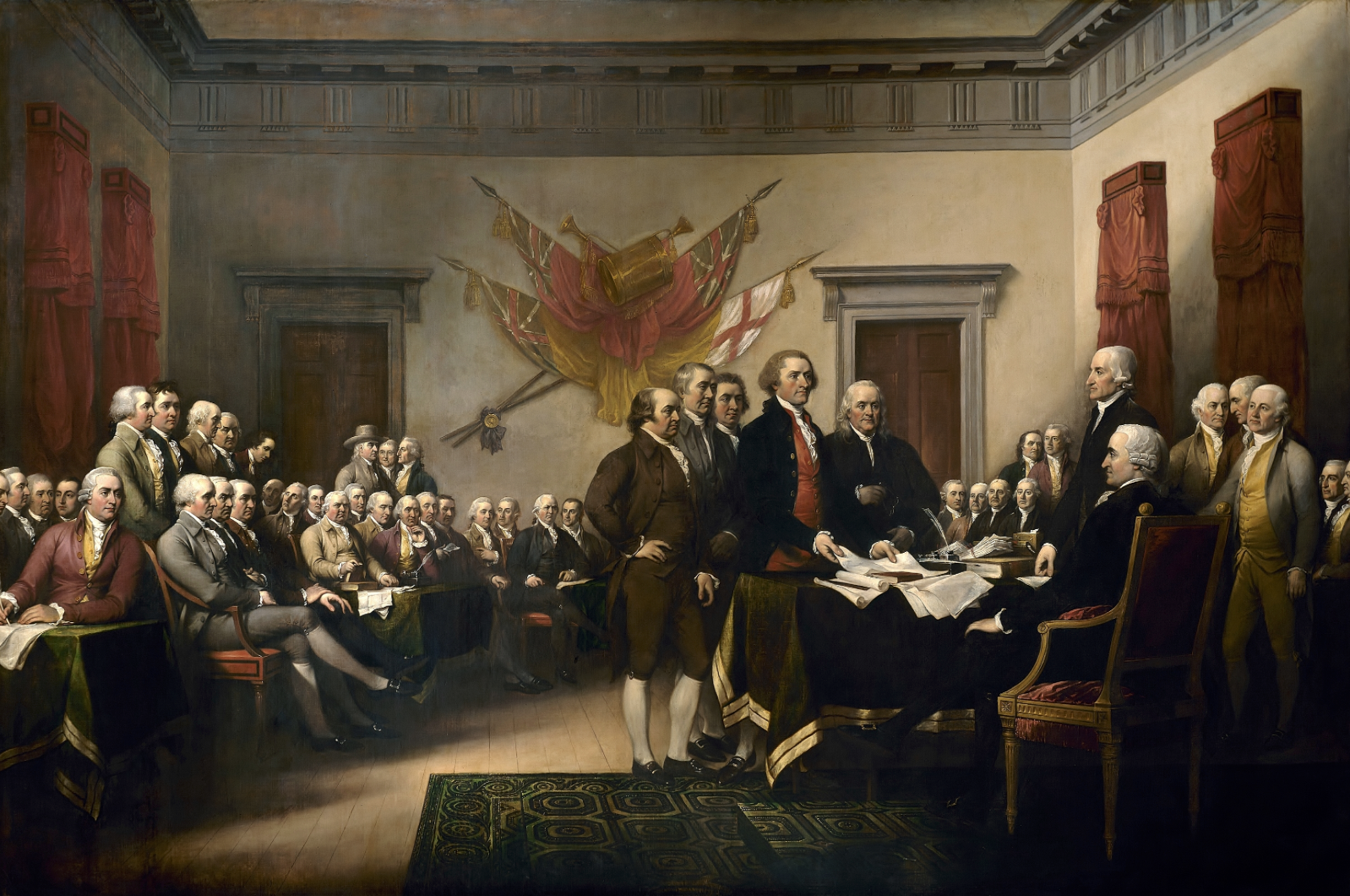 Portrait of the founding fathers and signing of the Bill of Rights. United States.