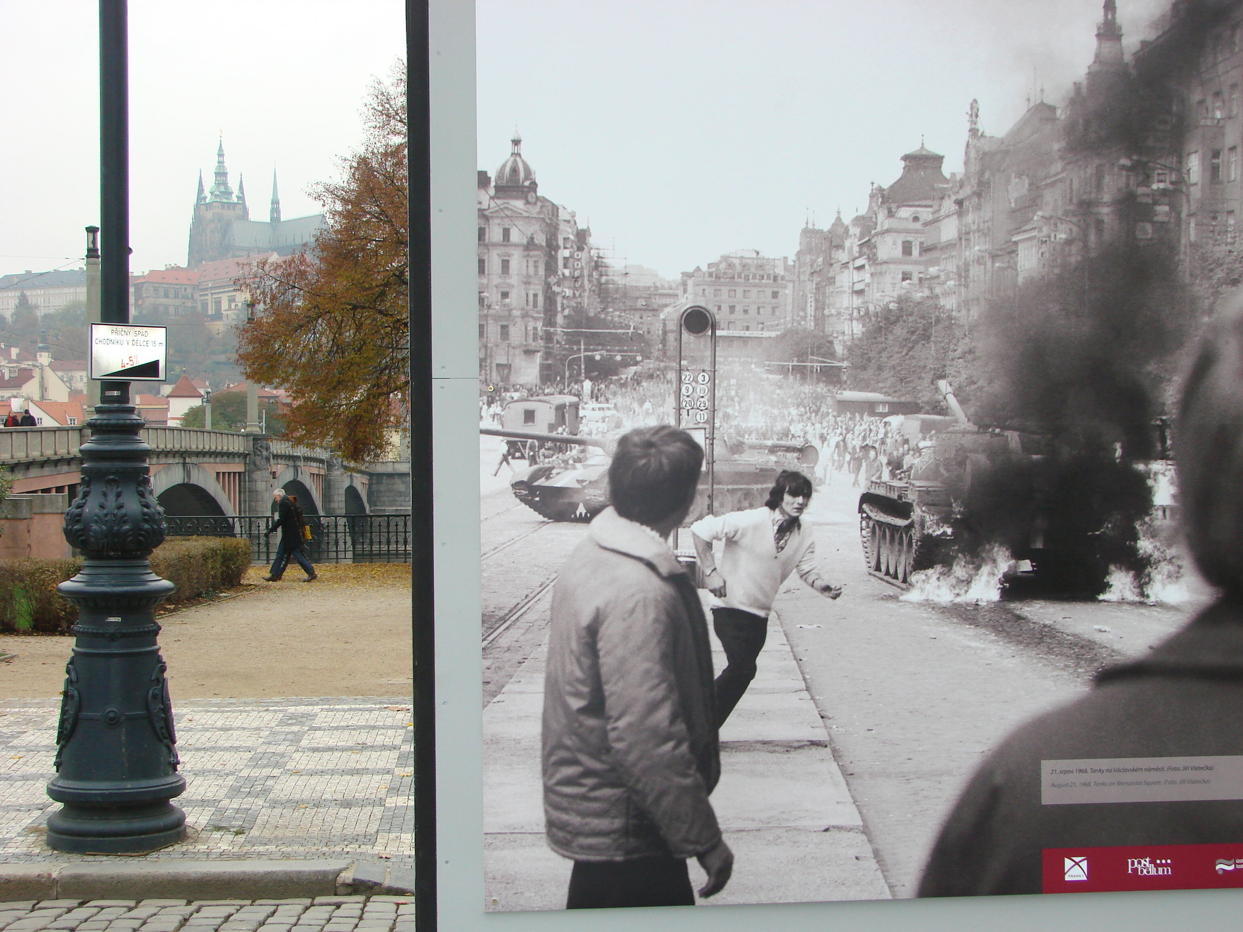 Contrast between modern-day Prague and Prague in 1968.