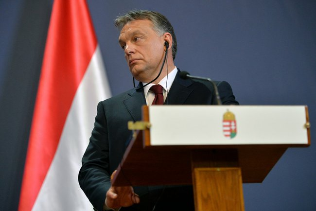 Hungarian Prime Minister, Victor Orban, at a press conference with Russian President Vladimir Putin (not pictured).