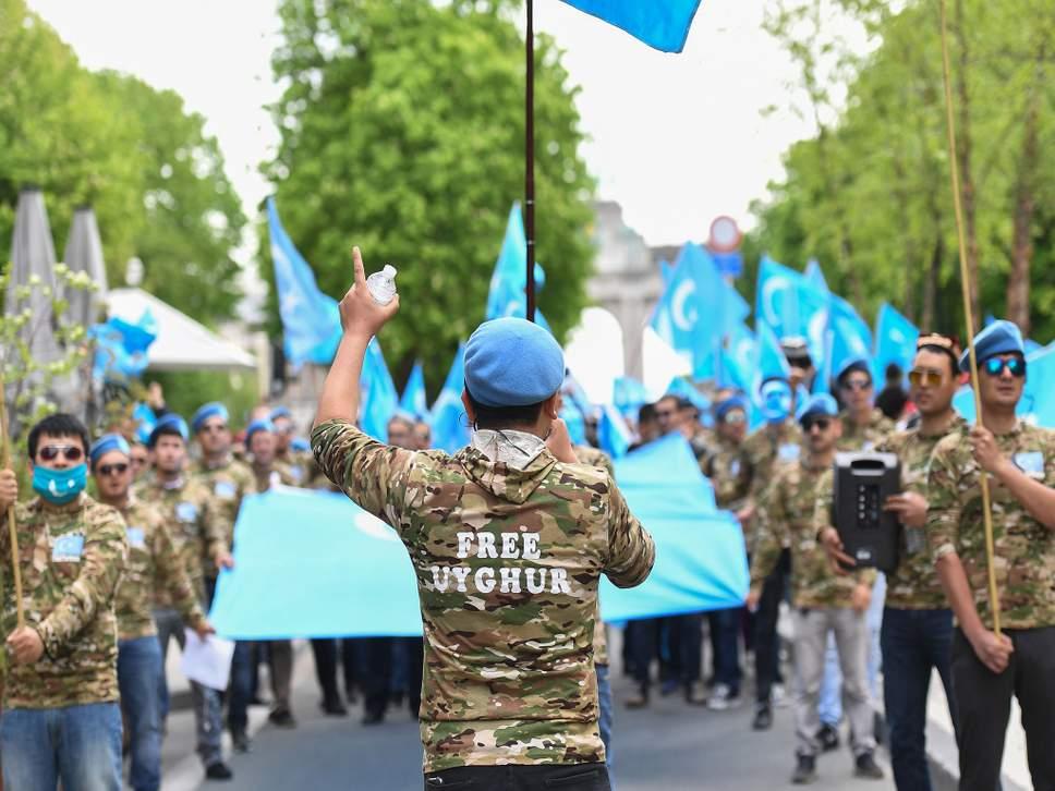 Uighur demonstrators in Brussels