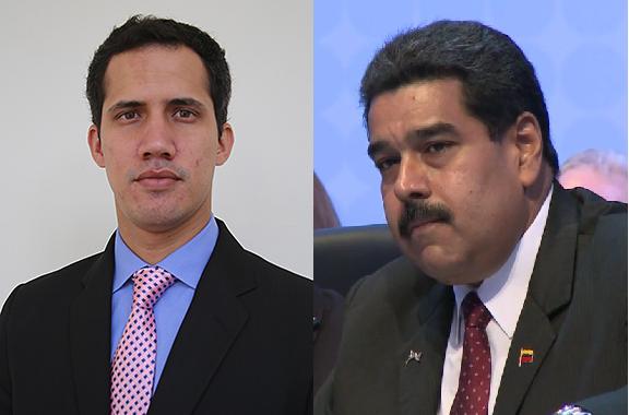 Venezuelan opposition leader, Juan Guiado in contrast to President Maduro.