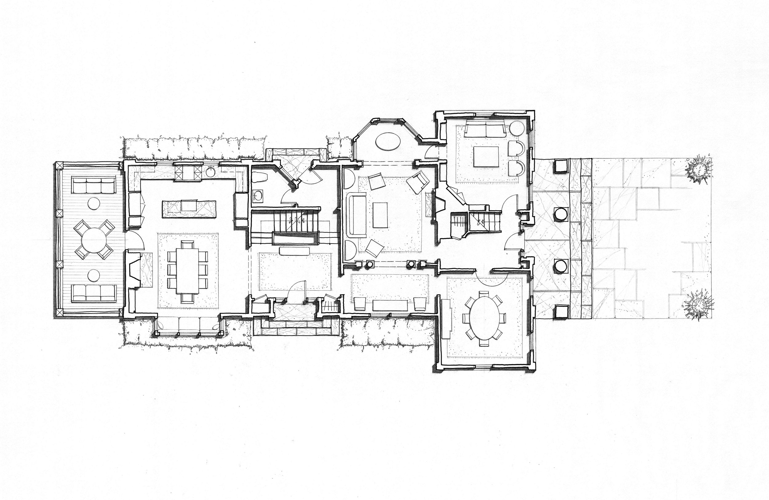 The plan of this expanded Greek Revival house shows the relationship between the original house and the new wing to the left.