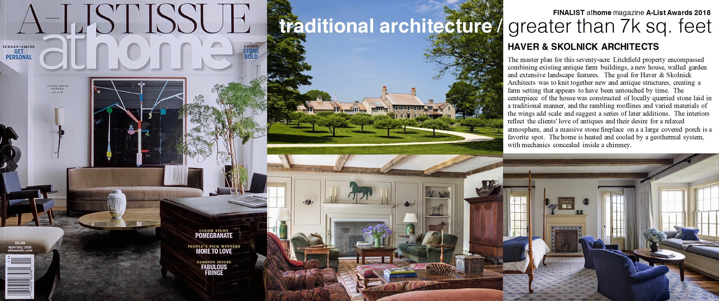 "- ""A-List Award"" finalist Stone Farmhouse, as featured in AT HOME."