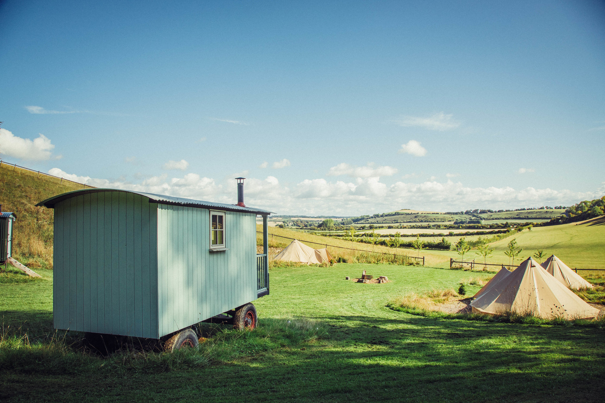The Huts & Tents - Simple and comfortable sleeping accommodation positioned to catch the rising sun